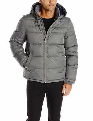 tommy hilfiger men's ultra loft quilted stretch hooded puffer jacket