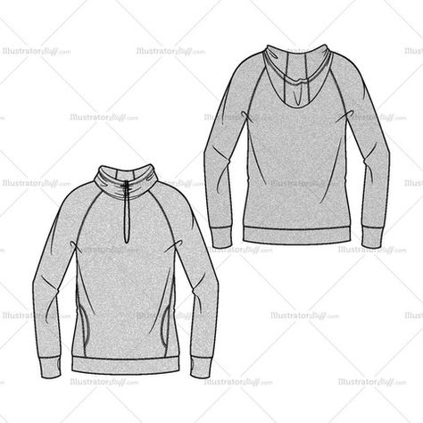 Women's Drawstring Hoodie Fashion Flat Template