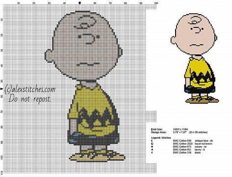 Charlie Brown Peanuts character free cross stitch pattern
