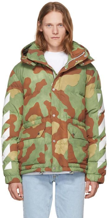 Off White Green Down Camo Diagonal Arrows Jacket | Jackets