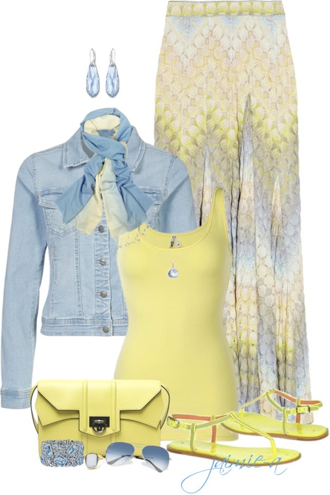 """""""Blue & Yellow Maxi Skirt"""" yellow has always been one of my favorite spring/summer colors. Yellow Maxi Skirts, Maxi Skirt Outfits, Komplette Outfits, Casual Outfits, Fashion Outfits, Blue Maxi, Spring Outfits, Dubai Fashion, Fashion Mode"""
