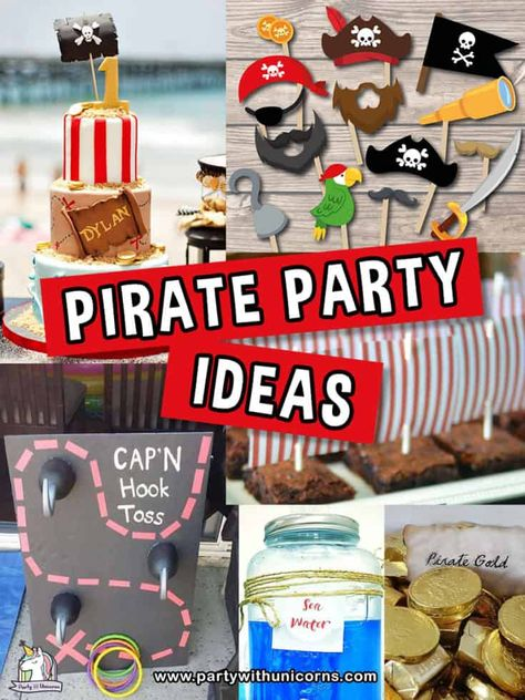 15 Fun Pirate Party Ideas For Kids. Everything you need for throwing your little Mate a perfect pirate party. From Pirate Invitations, Pirate Cakes, Pirate food ideas, Pirate party printables and Pirate Favors. Pirate Food, Pirate Party Games, Pirate Party Favors, Pirate Party Invitations, Pirate Kids, Birthday Party Games, Pirate Theme, Pirate Birthday, 4th Birthday