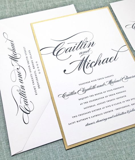 Caitlin Script Metallic Gold or Silver Layered Wedding Invitation
