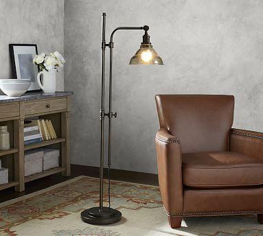 Pb Classic Vintage Glass Articulating Floor Lamp Bronze Base