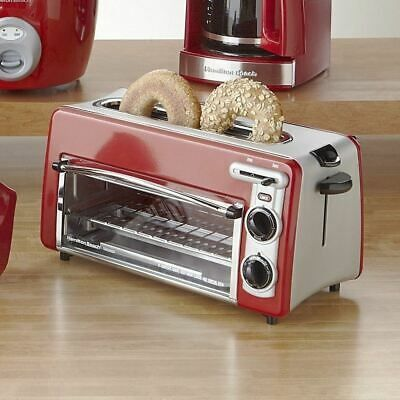 Retro Red 2 Slice Toaster Oven Combo Wide Slot Compact Pizza Bagels Bread Baking Toaster Oven Toaster Retro Toaster