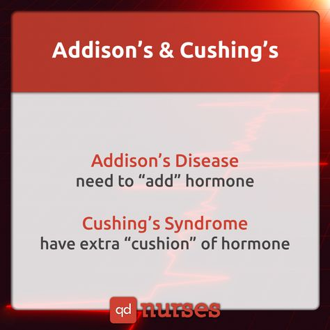 Don't get confused between Addison's and Cushing's! Visit qdnurses.com/qdmemes for your daily dose of nursing education!
