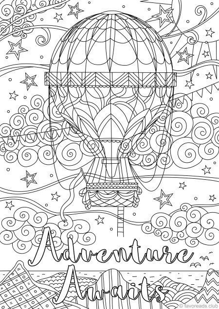 Adventure Awaits Printable Adult Coloring Page From Etsy