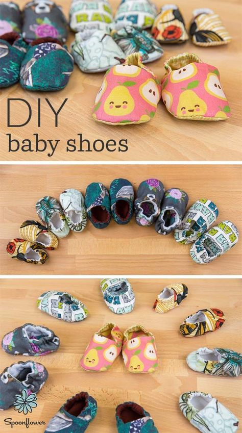 DIY Baby Shoes That Are Too Cute to Pass Up - Both soft and flexible, handmade b. DIY Baby Shoes That Are Too Cute to Pass Up - Both soft and flexible, handmade baby shoes are ready to keep little feet protected! Using just two fat . Baby Sewing Projects, Sewing Projects For Beginners, Sewing Hacks, Sewing Tips, Sewing Ideas, Baby Sewing Tutorials, Baby Dress Tutorials, Free Sewing, Handgemachtes Baby