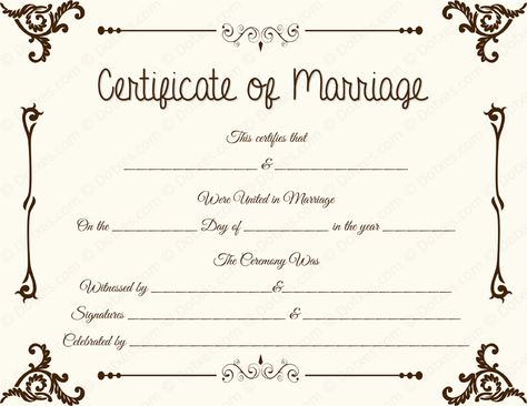 Elegant Marriage Certificate Template #certificatetemplate - marriage contract template