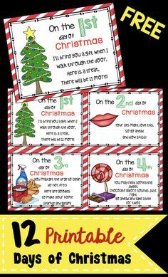 Twelve Days Of Christmas Notes.12 Days Of Christmas Free Cards Teacher Gifts Teacher