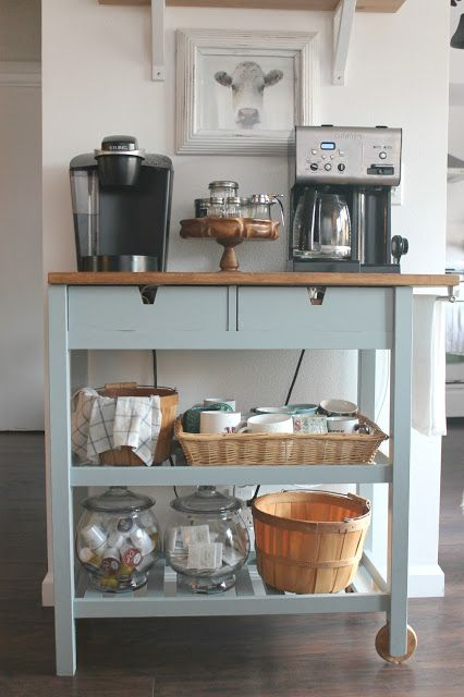 DIY Coffee Bar Cart perfect for a small space and for guests to self ...