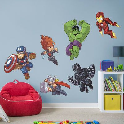 Avengers Assemble Marvel Super Hero Adventures Collection Giant Officially Licensed Removable Wall Decal Superhero Wall Decals Superhero Room Marvel Bedroom