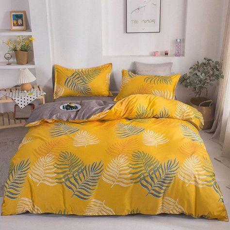 Nordic Simple Bedding Set Adult Duvet Cover Sets Bedclothes Bed Linen Sheet Single Double Queen King size Qulit Covers 240/220 - Yellow-Leaf / King 4pcs 220x240