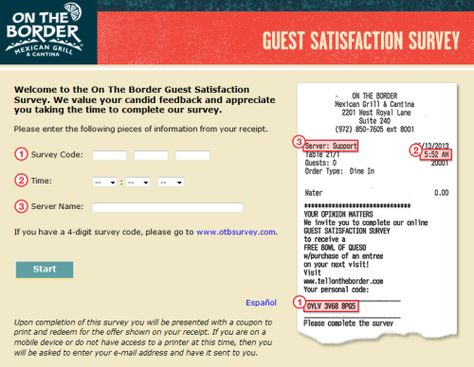 On The Border Guest Satisfaction Survey , wwwtellontheborder - satisfaction survey