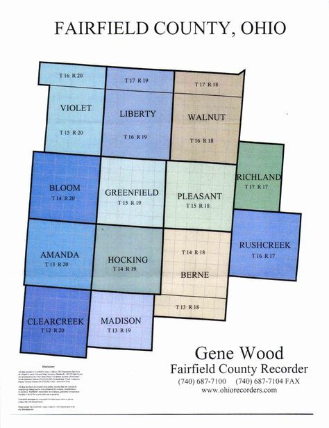 Fairfield County Ohio Range Township Section Map Handy For