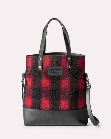 Buffalo Check Long Tote Red Black Ombre Pendleton Wool Tote Bag Wool Tote Beach Tote Bags