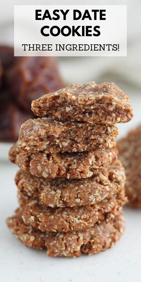 Easy Three Ingredient Date Cookies - no added sugar!