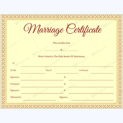 Editable Marriage Certificate Template #marriage #certificate - microsoft certificate of excellence