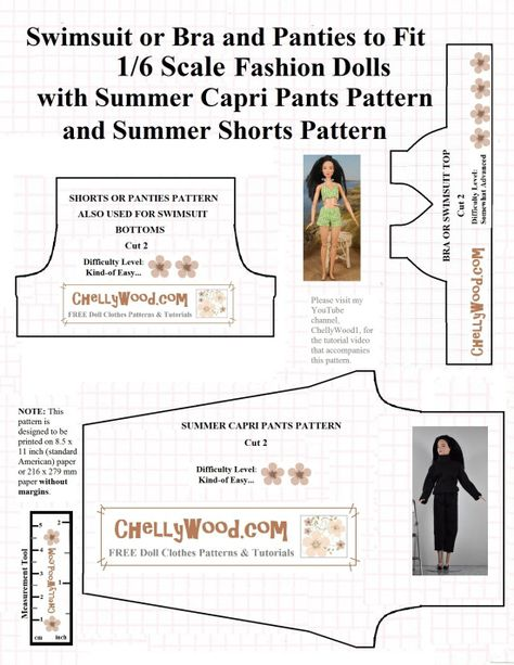 Visit ChellyWood.com for free, printable sewing patterns for dolls ...