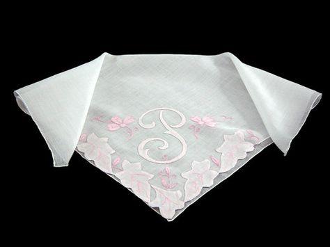 """Vintage Madeira Linen Embroidered Monogram """"J"""" Bridal Hankie Handkerchief"""