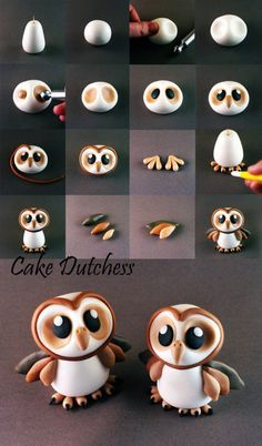 Here are 16 awesome ideas for diy Christmas decorations. Cute Polymer Clay, Cute Clay, Polymer Clay Dolls, Polymer Clay Creations, Polymer Clay Crafts, Owl Cake Toppers, Fondant Cake Toppers, Fondant Figures, Fondant Owl Tutorial