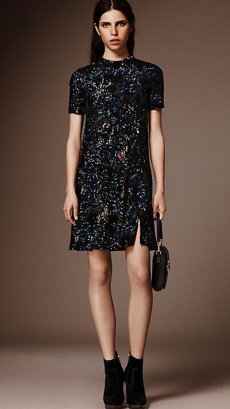 Black Hand-embroidered Sequin Dress - Image 7