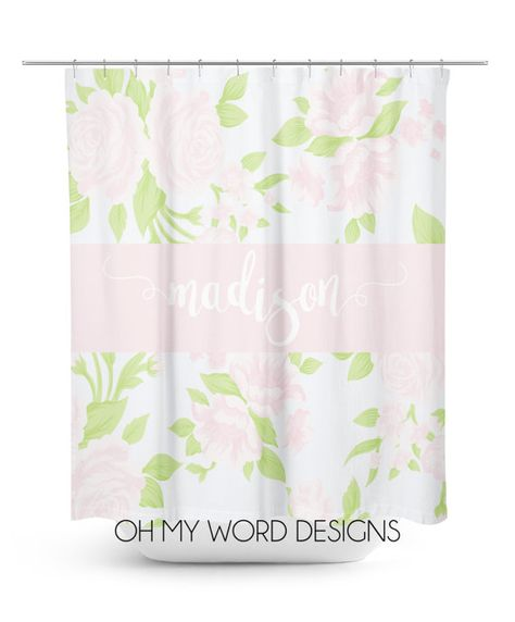 Personalized Shower Curtain Watercolor By Ohmyworddesigns On Etsy