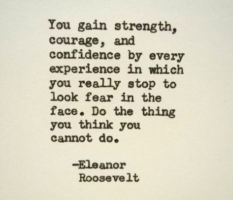 ELEANOR ROOSEVELT Inspirational Quote Famous Quote Hand Typed Quote Made with Vintage Typewriter Eleanor Roosevelt Quote courage strength