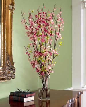 Cherry Blossom Silk Flower Accent Pink Plant Decor Flower Arrangements Silk Flower Arrangements