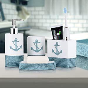 Tideandtales Nautical Bathroom Decor 4 Piece Bathroom Accessories Set In 2021 Bathroom Accessory Set Nautical Bathroom Decor Anchor Bathroom Decor
