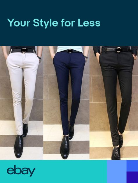 07b2c949 New Mens Fashion Solid Skinny Fit Tapered Flat Front Casual Dress Pants 5  Size