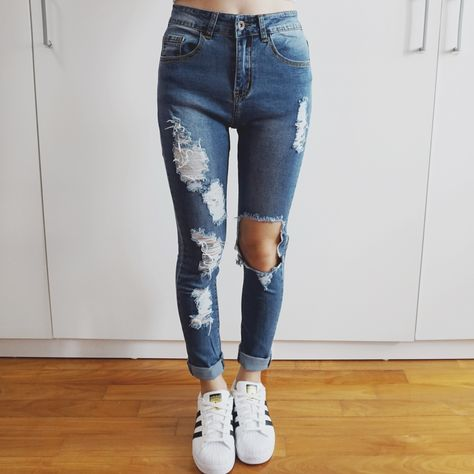 a630c13423cd Ripped Cutout High Waist Skinny Jeans (Med Blue) from Megoosta Fashion
