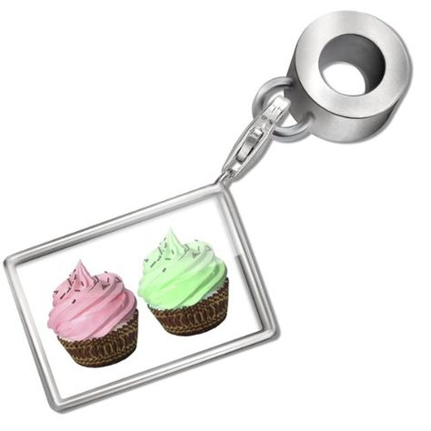 """Neonblond Bead/Charm """"Cupcake and his friend"""" - Fits Pandora Bracelet NEONBLOND Beads,+"""