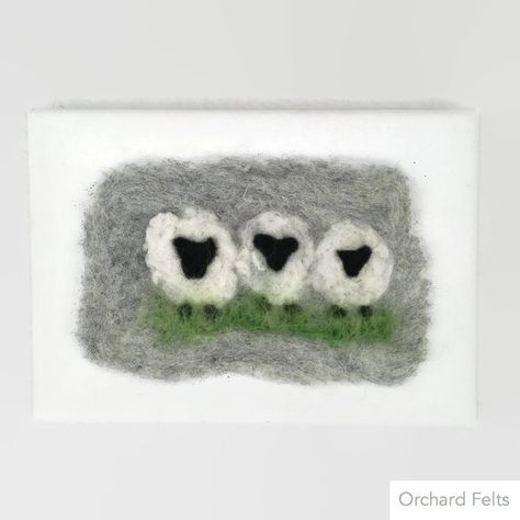 Needle felted picture, three sheep, felted on canvas £10.00