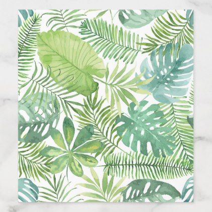 Tropical Watercolor Green Leaf Pattern Envelope Liner Spring