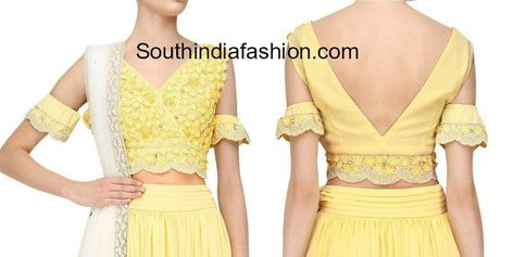a15fd8fcfd07b6 indian cold shoulder crop top designs for lehengas