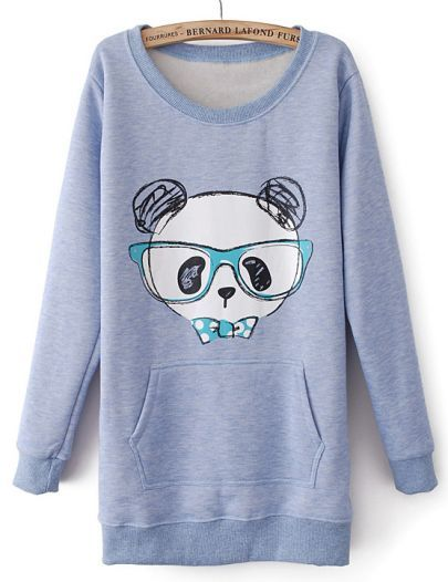 To find out about the Blue Long Sleeve Glasses Bear Print Sweatshirt at SHEIN, part of our latest Sweatshirts ready to shop online today!