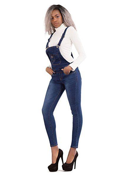 heiß-verkauf echt auf großhandel offiziell Damen Denim Latzhose Lang Jeans Damen Blau Riemchen Overall ...