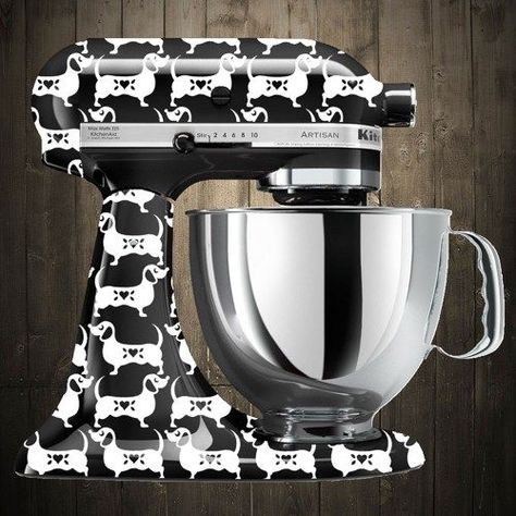 Doxie-nize your kitchenaid mixer with a Dachshund Kitchen aid mixer decal on Etsy. This is just so cute.