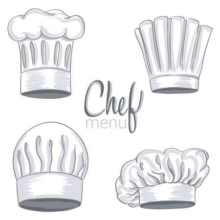 Set Of Hand Drawn Chef Hat On White Cooking Caps Drawings Isolated On White Background Vector Illustration Cap Drawing How To Draw Hands Drawings