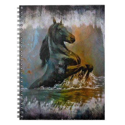 Rustic Turquoise Orange Grunge Texture Horse Notebook Country