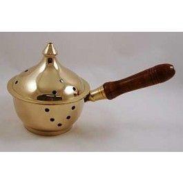 Accessories Brass Burners Incense Burner with Wood Handle NAI BURNERBCC