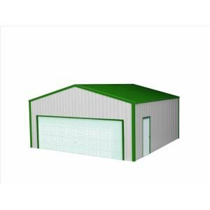 Versatube 24 Ft X 24 Ft X 8 Ft Garage Vs2242408416sg The Home Depot In 2020 Metal Shop Building Steel Buildings Metal Garages