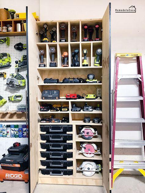 Garage Organization - Charging Station + Tool Storage Cabinet