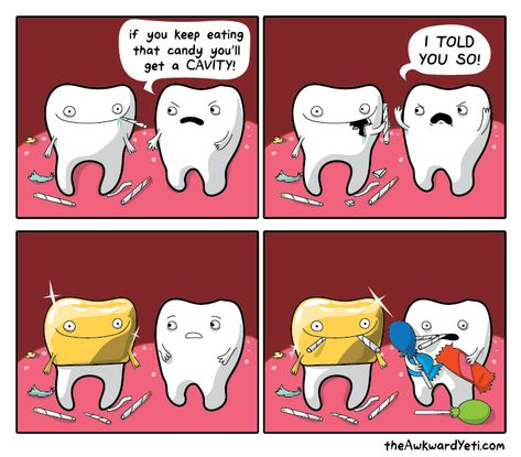 Teeth cavities - The Awkward Yeti Funny Cartoons, Funny Comics, Cartoon Memes, The Awkward Yeti, Dental Jokes, Funny Comic Strips, Humor Grafico, Stupid Funny Memes, Cute Cartoon