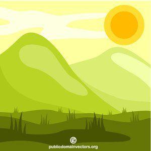 Sunny Natural Landscape Vector Image Publicdomain Vectorgraphics Freevectors Illustrator Clipart Freevectors Vector Illustration Clip Art Vector Images