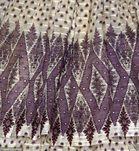 PURPLE PRINT VOILE DRESS, c. 1850