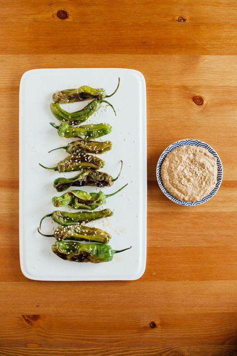 Blistered Shishito Peppers with Almond Soy Dipping Sauce - Alyssa and Carla
