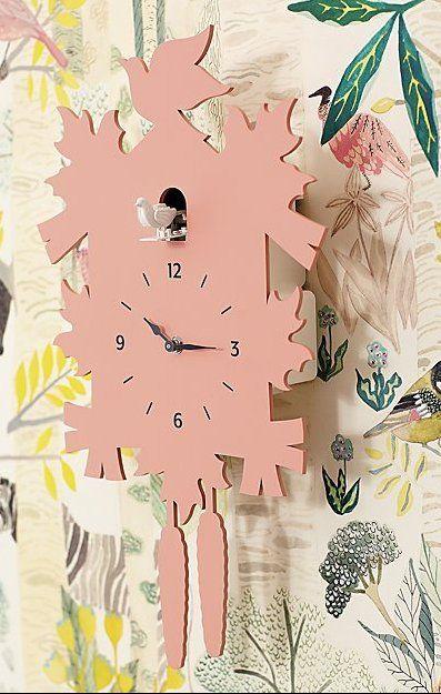 Modern Coral Cuckoo Clock Reviews Crate And Barrel Nursery Inspiration Girl Wall Mural Decals Kids Room Murals