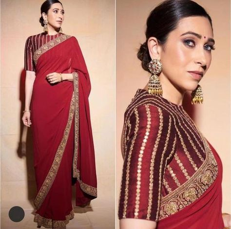 Indian Designer Sarees, Indian Designer Outfits, Indian Sarees, Bollywood Saree, Bollywood Fashion, Indian Bollywood, Plain Saree, Plain Georgette Saree, Wedding Sari